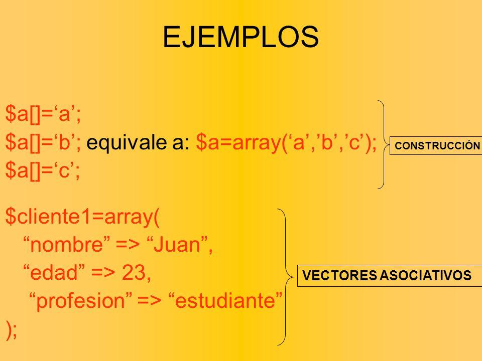 EJEMPLOS $a[]='a'; $a[]='b'; equivale a: $a=array('a','b','c');